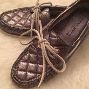 Silver Quilted Sperry Boat Shoes